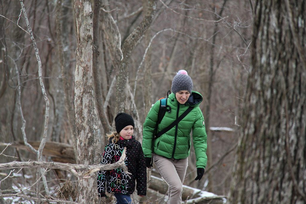Emily and Anna hiking