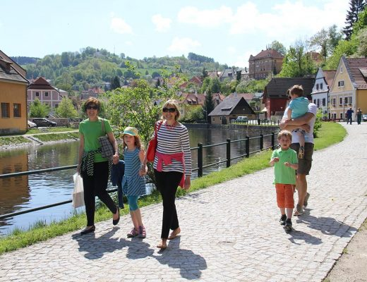 Walking in Český Krumlov with the Pruchas, Beth Gates and Susan Brooks.