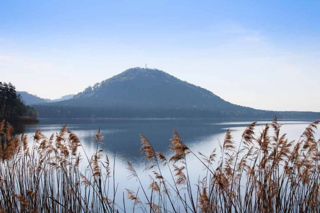 Machas lake in the morning. Czech landscape