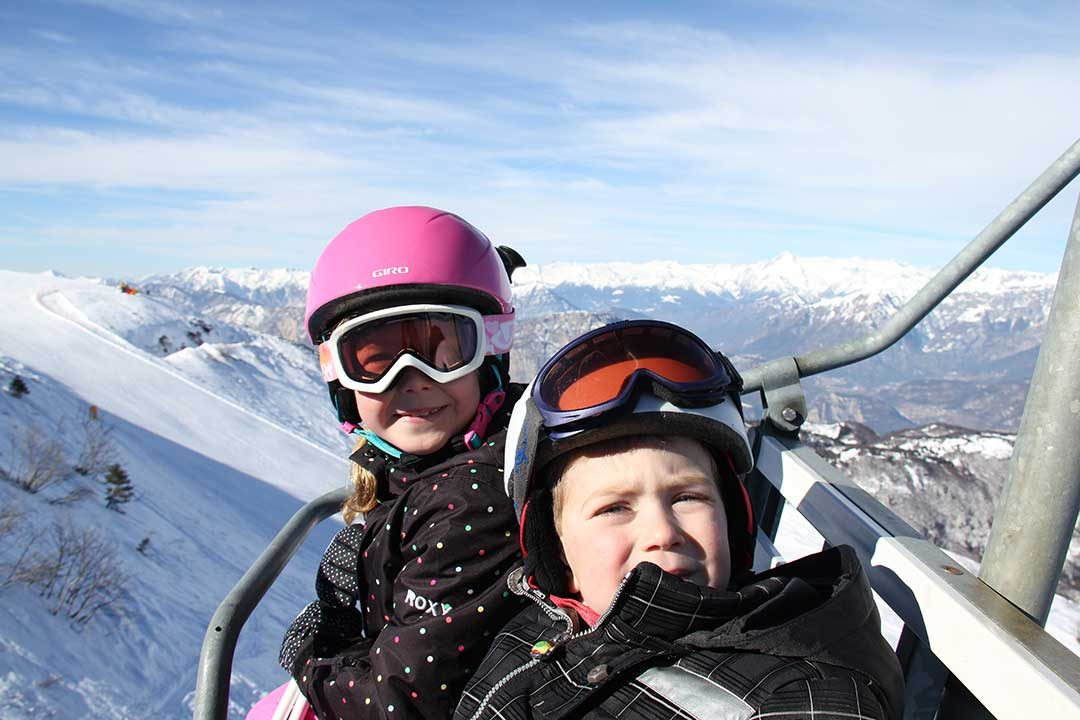 Emilys kids in ski lift