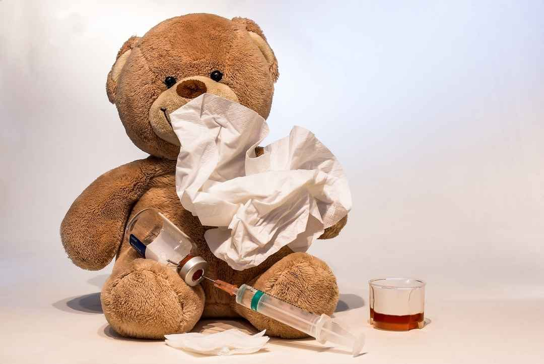 teddy bear with flu shot & tissues