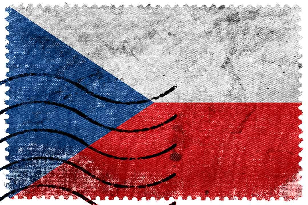 Czech Republic Flag - old postage stamp