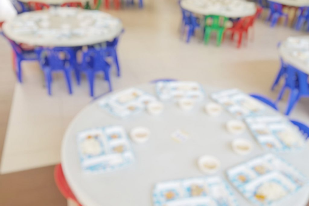 Blurred photo of school canteen during lunch