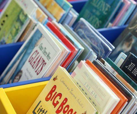 bins of children's books