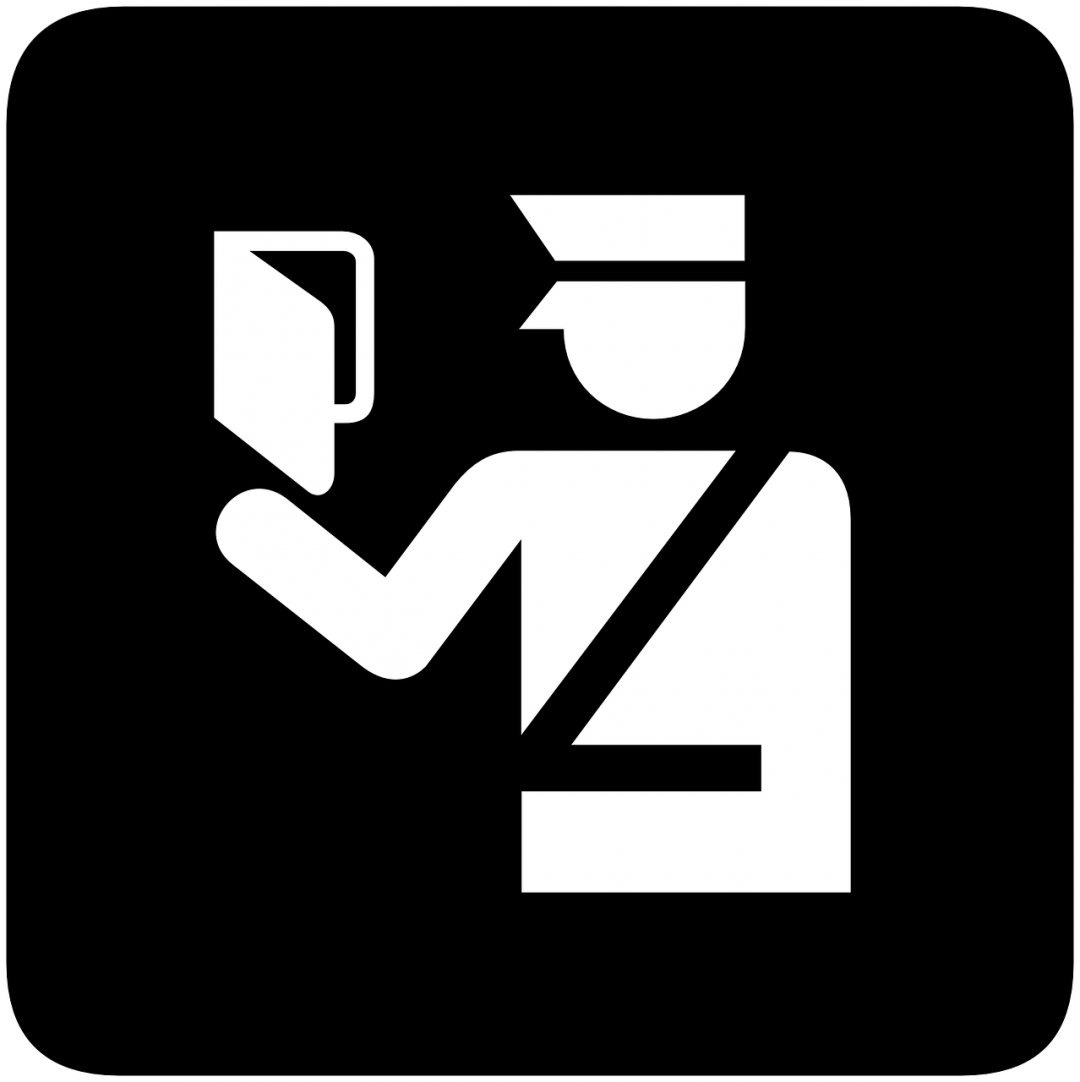 black square with symbol of foreign police officer holding passport
