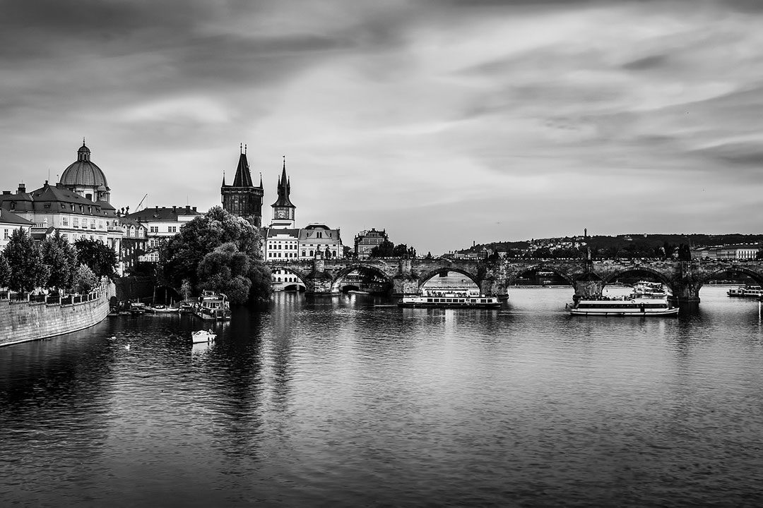Black and white photo of Prague