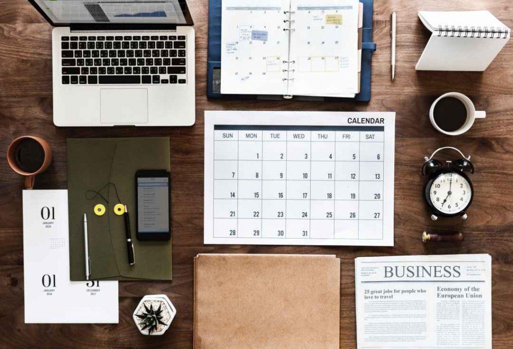 calendar on a desk