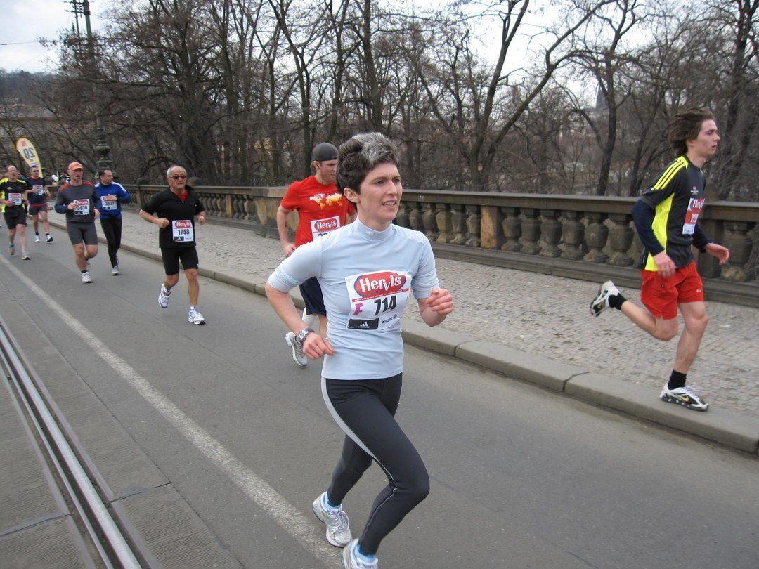 Emily running Prague half-marathon