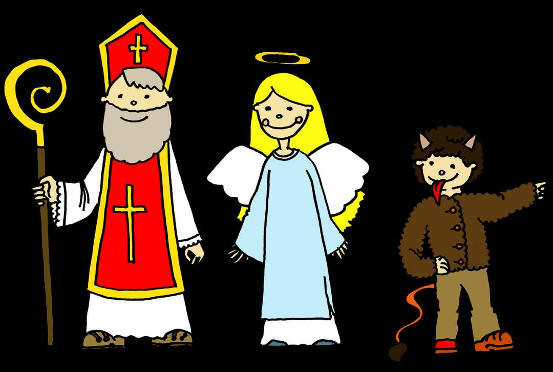 Drawing of Sv. Mikuláš, anděl, and čert