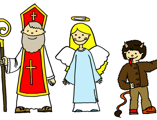 Drawing of Sv. Mikuláš, anděl, and čert