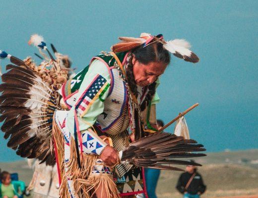 Native American in ceremonial dress