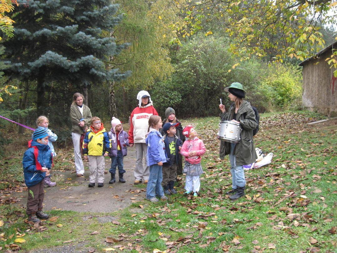 group of children in homemade costumes in the Sarka forest